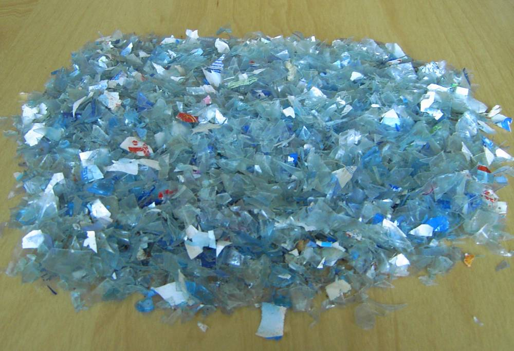 PET flakes (light blue color)